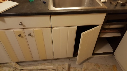 Left the doors on the bottom cabinets and painted from there.