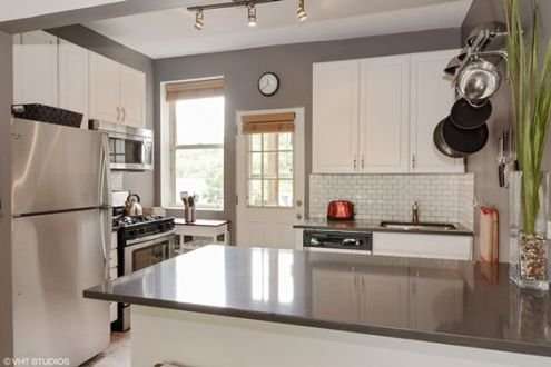 Grey kitchen and white cabinets