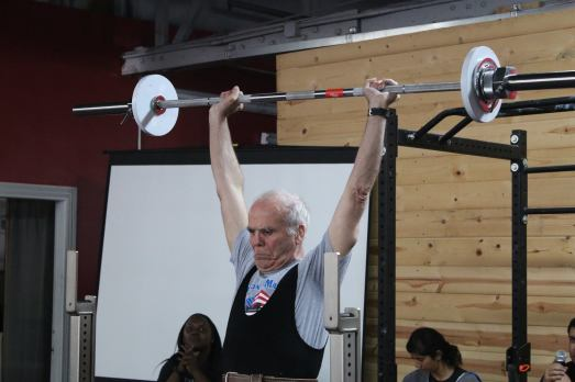 79 yr old male performing the press