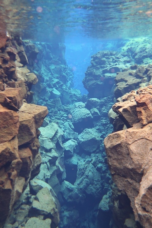 Between two tectonic plates